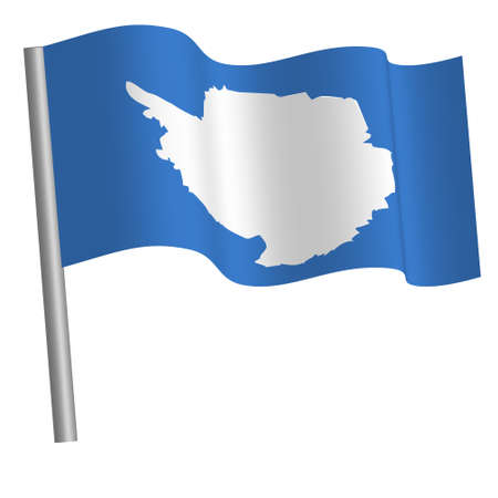 Antarctic flag waving on a pole Banque d'images