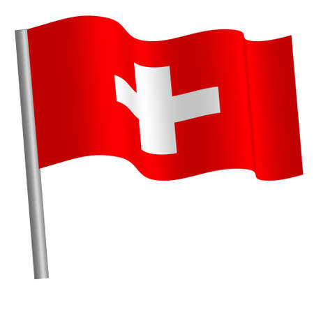 swiss flag on a pole