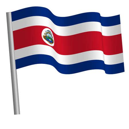 Costa rican flag on a pole