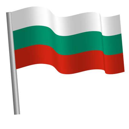 Bulgarian flag waving on a pole