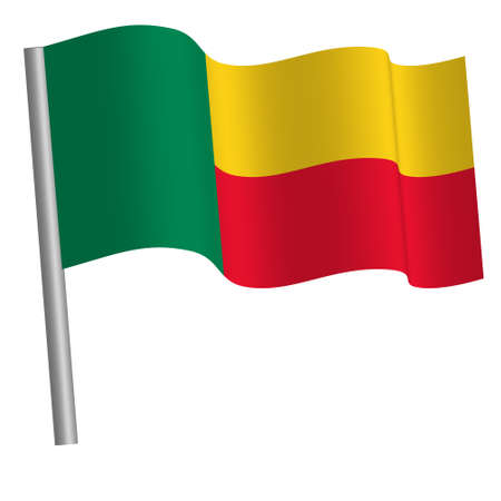 beninese flag waving on a pole