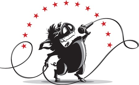 Illustration of wild boar singing into a microphone. 向量圖像