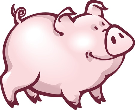contented: Illustration of a happy pink piglet - cartoon character - with contented look.
