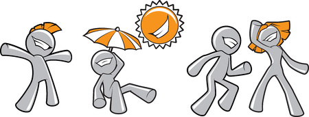 sun umbrellas: Illustration of a few funny happy persons cartoon characters fooling around under the sun.