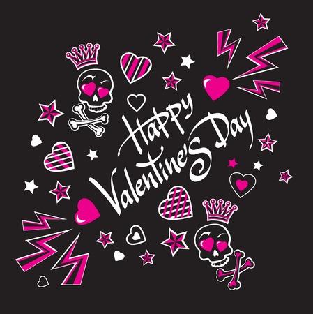 estrella caricatura: Triste y sombr�o negro y rosa ilustraci�n de tarjeta postal para el D�a de San Valent�n con los amantes divertidos coronado calaveras con huesos.