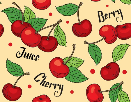 Illustration-pattern of red cherries with green leaves on beige background with words cherry, berry and juice. Ilustracja