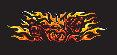Color tattoo style illustration of two angry dogs faces in yellow and red flames on black background. Illusztráció