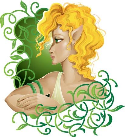 eyes green: chica joven elfo con los ojos verdes y el pelo de color amarillo en el ornamento floral verde.