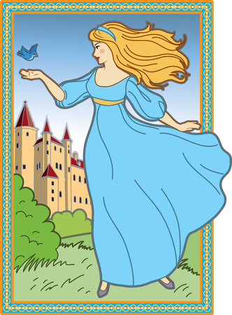 medieval woman: Illustration of young woman with gold hair in a blue dress with a little bird with her on the background of a medieval castle. Illustration