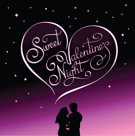 Romantic postcard for Valentines Day and Valentines night shows couple in love in the starry night under calligraphic heart with words Sweet Valentines Night in it.