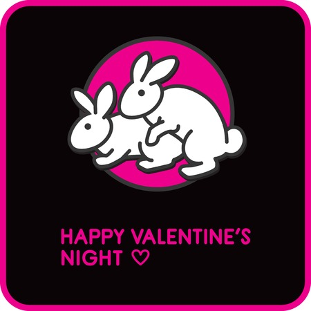 Humorous postcard for Valentines Day and Valentines night with two white rabbits lovers on pink and black bacground. Ilustracja