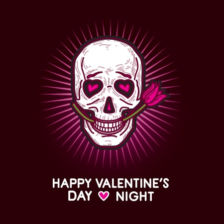 Humorous gloomy and grim illustration postcard for Valentine's Day and Valentine's Night with funny smiling looking in love skull with pink rose in its teeth in the pink glow on black background. Zdjęcie Seryjne - 52000633