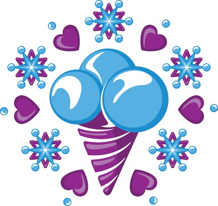 chilly: Ice cream cornet with three ice-cream scoops among snowflakes and hearts.