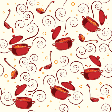 crock: Illustration pattern with kitchen utensils on it: red saucepans and soup ladle on white background.