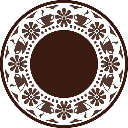 interleaved: Ornament. Interleaved  images of coffee cups with coffee and flowers, arranged in a circle. Illustration
