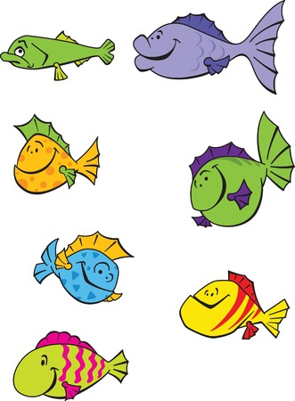 variegated: Illustration set of seven funny colorful emotional cartoon fishes.