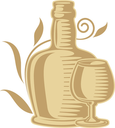 monochromatic: Monochromatic illustration still-life of wine bottle and glass with floral element. Illustration