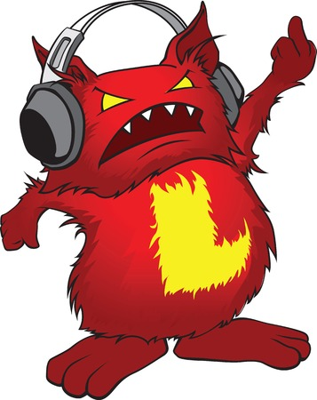 obscene gesture: Evil little red cartoon monster with headphones, and the letter A on her belly showing rude gesture. Illustration