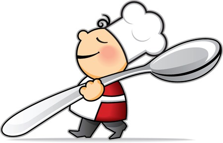 Illustration of little cartoon cook in apron with very big spoon.