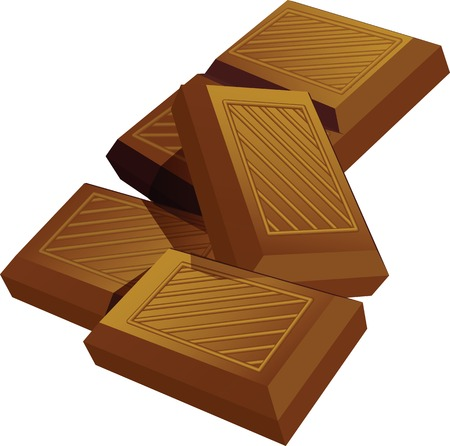 Illustration of chocolate bar pieces