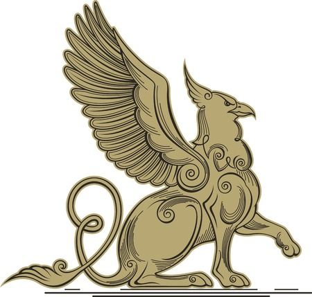 griffon: Monochrome vector illustration of a griffin - a mythical creature with the head, claws and wings of an eagle and a lions body.