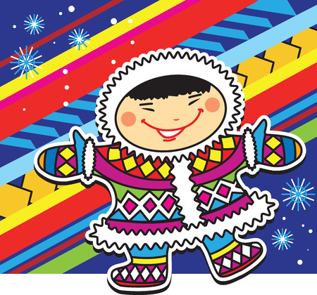 child boy: Smiling Eskimo little boy in ethnic colorful clothes on a colorful Escimo style background.
