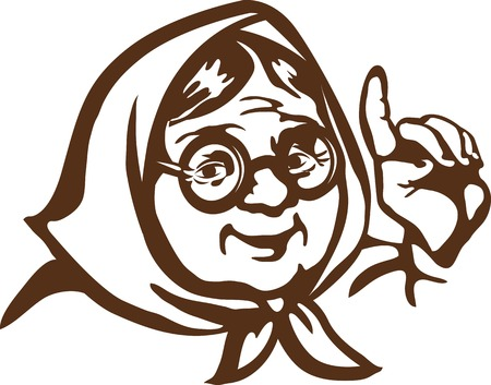 Illustration of cartoon character - good and wise grandmother in round glasses, which gives useful advice. Ilustração