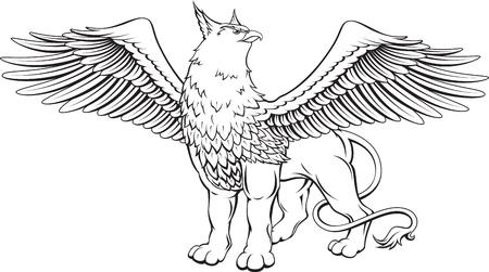 black white drawing: Monochrome illustration d'un griffon aux ailes d�ploy�es - une cr�ature mythique avec la t�te, des griffes et des ailes d'aigle et le corps d'un lion.