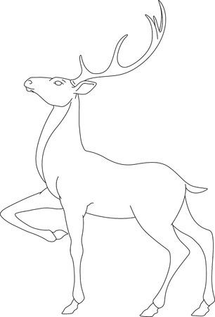 Outline vector illustration of a deer with beautiful antlers Illustration