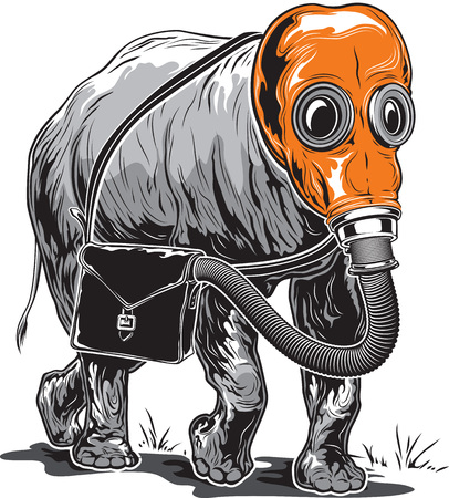 illustration of an strange elephant in an orange gas mask with a briefcase on its side