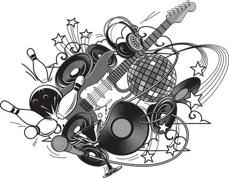 saturday night: Entertainment composition - set. Entertainment attributes: club life, DJ, music, dancing, restaurants, bowling, etc.