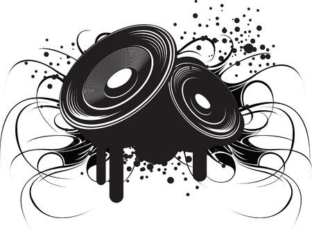 현대 도시 테마에 추상 흑백 그림 : 클럽 음악과 소리.