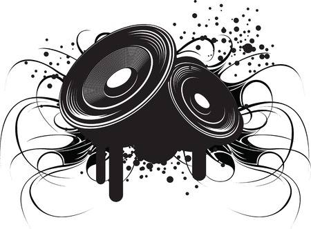 Abstract black and white illustration on modern urban theme: club music and sound.