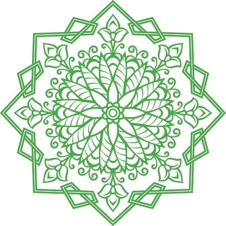 Geometric oriental floral ornament. Squares, triangle, leaves and flowers.
