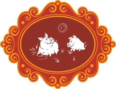 piglets: A few funny cartoon pigs and piglets on the farm having fun, playing and fooling around. Humorous illustration; characters - pigs are enclosed in an art frame. Illustration
