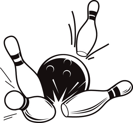 Vector black and white illustration of bowling. Bowling ball knocks down pins. Stock Illustratie