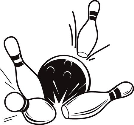 Vector zwart-wit illustratie van bowling. Bowling bal klopt beneden pinnen. Stock Illustratie