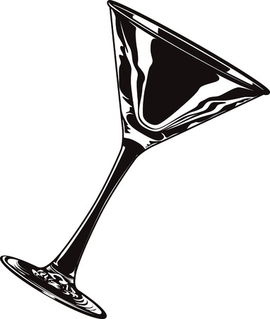 Black and white vector illustration an empty isolated martini glass.