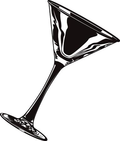 copa martini: ilustración vectorial blanco y negro de un vaso de martini aislado vacía. Vectores