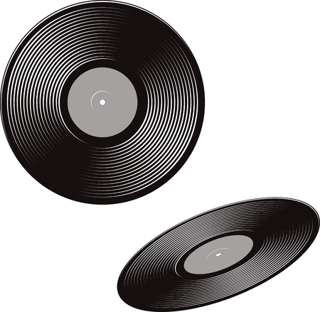vinyl disk player: Black and white vector illustration of a vinyl discs. Front view and a perspective view. Illustration