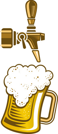on tap: Vector illustration of a a beer tap and a glass of beer.
