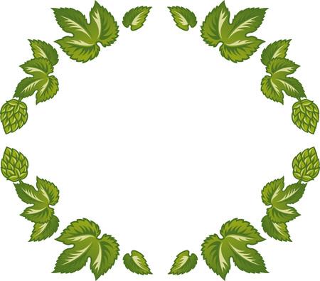 Vector illustration decorative frame of green leaves and hop cones. Ilustração
