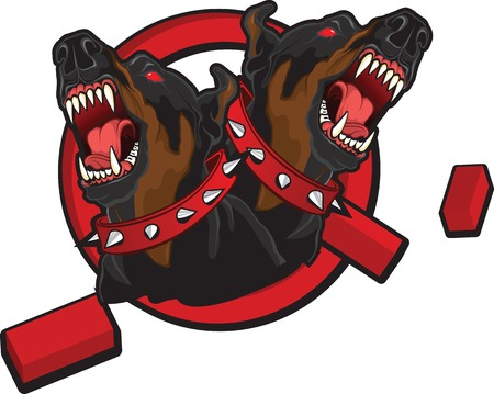 angry dog: Illustration on the theme of breaking taboos. Tattoo style image of two dobermans braking prohibition sign.