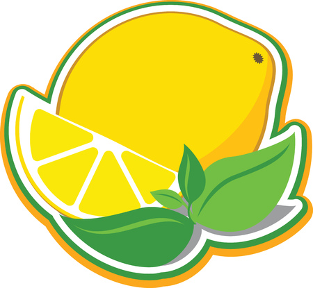 Vector illustration of a lemon and a slice of lemon with mint leaves.