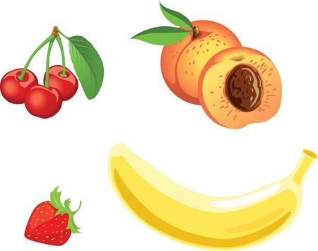 Vector fruit set. Cherry, peach, strawberry, banana.