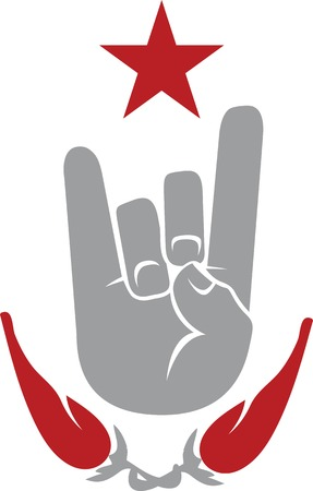 chilly: Vector icon with two fingers up gesture framed with red star and two red hot chilly peppers.