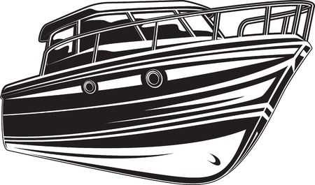 Vector black and white illustration of modern yacht.