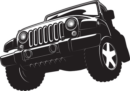 convoy: Vector black and white illustration of offroadster.