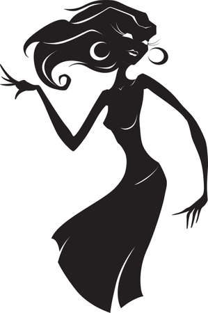 young girl: Vector illustration of a silhouette of dancing slender young woman with subtle and long fingers.