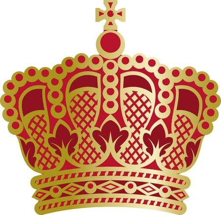 Vector richly and magnific decorated elegant monarch crown.